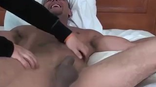 Muscular hunk Jose is tied to the bed and tickled hard Dick pleasure