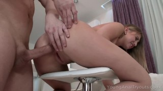 Young Anal Tryouts – Dude prepares a cutie for sex with a dildo