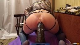 TS-girl destroys ass, a huge strap on