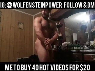 Sexy Jacked Muscular Bodybuilder Posing and Flexing Nude