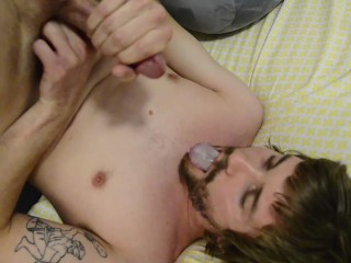 Self Facial/Swallowing my own cum.)