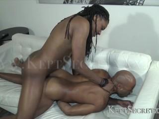 SEXY BLACK TRANSMAN PUSSY GETS FUCKED ROUGH BY BIG BLACK DICK KEPTSECRTXXX