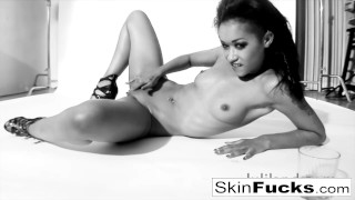 Skin Diamond playing with her wet pussy Audition blowjob