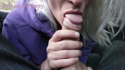 Skilled blonde geek cock edging in the car - Princess Poppy