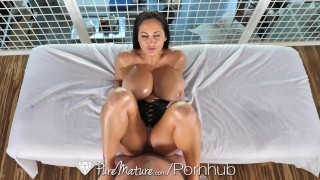 With puremature massage fuck addams ava breasted up big oiled milf brunette pornstar