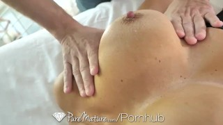 PureMature Oiled up massage fuck with big breasted MILF Ava Addams Hubby made