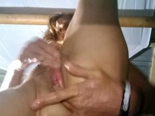 Cougar teases herself after shower