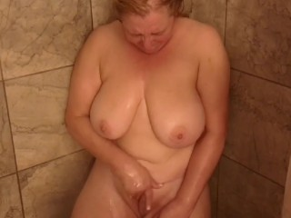 NAUGHTY WIFE CAUGHT MASTURBATING IN THE SHOWER – REAL MILF ORGASM