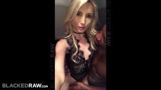 BLACKEDRAW Tiny blonde dominated by black stud Tits petite