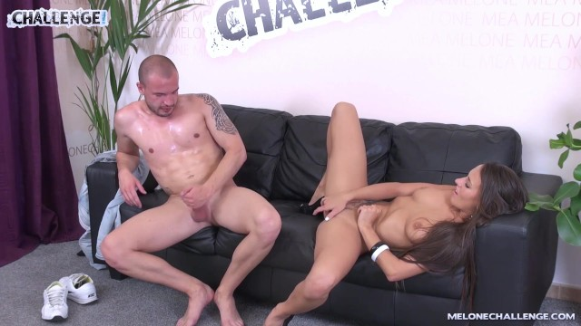 Loser has to jerk off to cum for hot pornstar Mea Melone