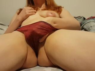 Redhead with puffy nipples creamy panty cum