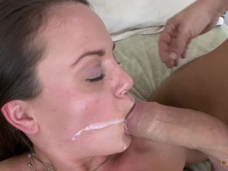 Horny schoolgirl takes huge dick in tight pussy and eat his cum
