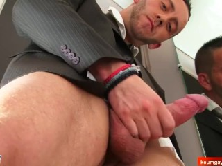 Jeremy innocent suited salesman serviced his cock by us.