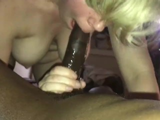 Cammie cumz sucks Bbc while husband pops in the room to take pics