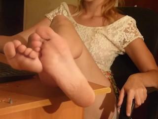 Cumshot in my sole and eating cum