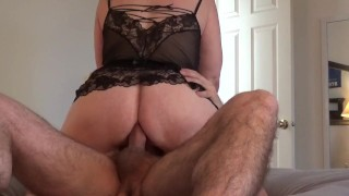 Amateur MILF rides cock in her ass anal cowgirl creampie