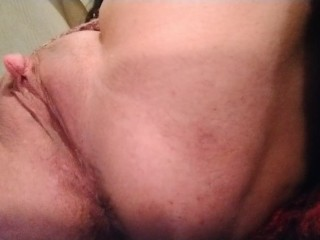 Rubbing my huge clit and cumming three times