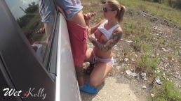 Best cocksucking right in the street enjoys cum swallowing