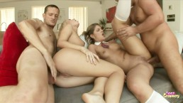 Two Little Teen Get Assholes Destroyed and CUM Covered by Two Cocks