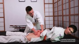 Two young judokas Enzo Lemercier & Timy Detours fucking on the tatami
