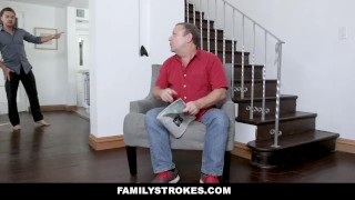 FamilyStrokes - Slutty Sis Athena Rayne Fucks Her Stepbrother  doggy style step siblings big cock small tits missionary hardcore stepbro brunette cowgirl familystrokes shaved stepsis step brother athena rayne cum shot step sister