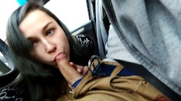 Highway Head - little horny Cocksucker gives Blowjob in Car while driving