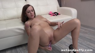 Cherry Pussy - Brunette babe Katarina gapes her pussy and enjoys dildo Tits milf