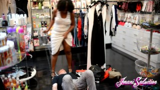 Sex Shop Foot Slave Trampled by Imani Seduction