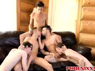 Adorable twinks Zac and Camille pounds each other hard