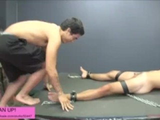 Slave kicked in the balls by master