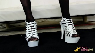 Her feet hosed shows stefani special trans high