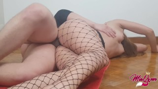 Perfect Teen Ass in fishnet, Yoga At Home, Sex on the floor...