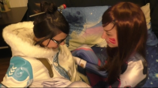 D. va and Mei Lesbian Оverwatch Сosplay Stepsister facial
