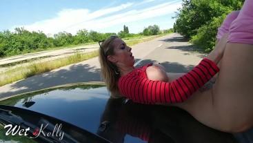 Hooker fucked on the car hood for cash in a public street