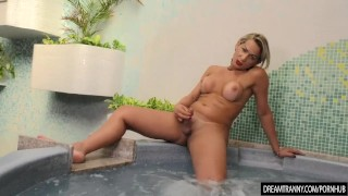 Horny Tranny Pamela Lenvisk Masturbates Her Big Cock in a Whirl Pool Tub Wetandpissy watersports