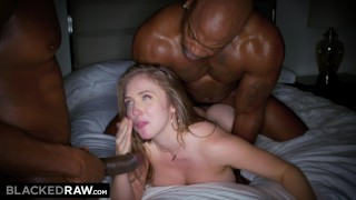BLACKEDRAW Big titty white girl gets double teamed by BBCs porno