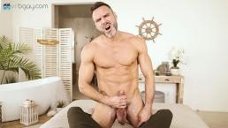 VRBGay.com Sexy Manuel Skye stroking his big cock Gay VR PORN