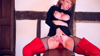 MILF Red finger fucks her tight wet twat in leather gloves
