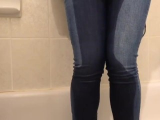 Girl pees pants then cums