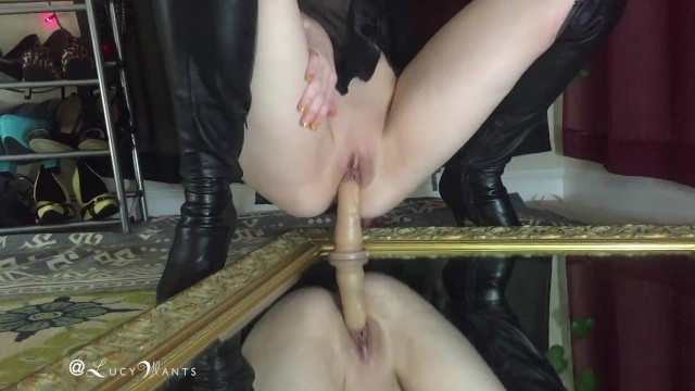 Bam cock dildo realistic - Teaser riding realistic dildo mirror thigh high leather boots lucywants