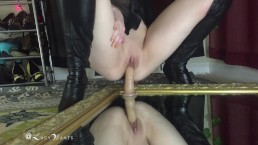 teaser Riding realistic dildo mirror thigh high leather boots || lucywants