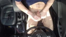 Jerking off in the car in public view