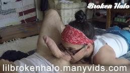 Broken Halo - MILF gives slow sloppy blowjob and handjob in glasses