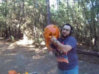 Gun Pumpkin CARVING!?!?!?! Shooting Jack O Latern A New Form of Art!