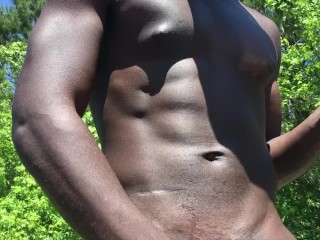 Blackman jacking his dick and making it spit hot cum.