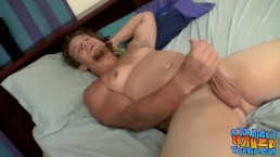 Dreadlocks dude plays with his cock and fucks a fleshlight