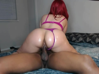 Sexy bubble butt slut ride's hard cock in matching bra & panties!
