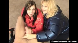 Charlee Chase & Kelsie Cummings Jerk Cock In Puffy Jackets!
