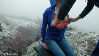 Lost hikers have rough anal sex to stay warm in snow - 2 orgasms 1 cumshot Deepthroat underwear