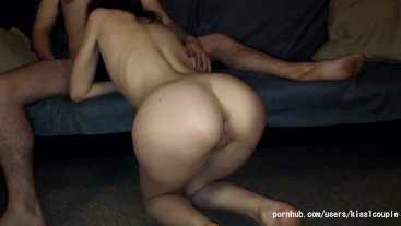 Teen PAWG girlfriend smokes weed and fucks on the couch (crempie in pusy)